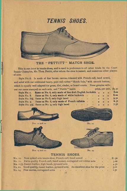 Premiers modèles de chaussures de tennis. Crédit : DR.